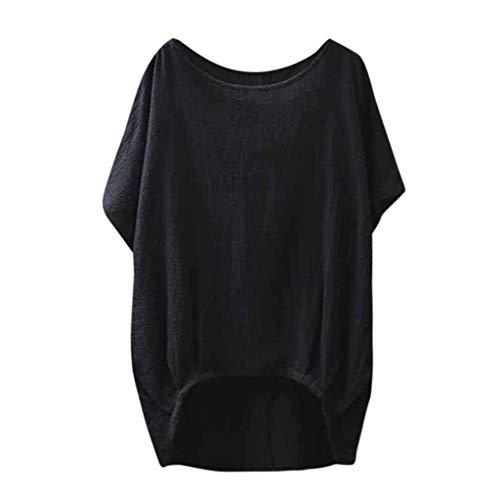 JYJM 2019 Frauen Dame Tops Leinen Solide T-Shirt Lässig Plain Tops Lose Bluse Shirt Asymmetrische Tops 50s Retro Schwingen Vintage Rockabilly Kleid Faltenrock Rockabilly Kleid Partykleider