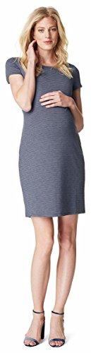 SET - Noppies Umstandskleid Schwangerschaftskleid Stretchkleid Schlauchkleid Anniek 80120 kurzärmlig blau Gr. 42 + Babytuch Baumwolle 80 x 60 cm