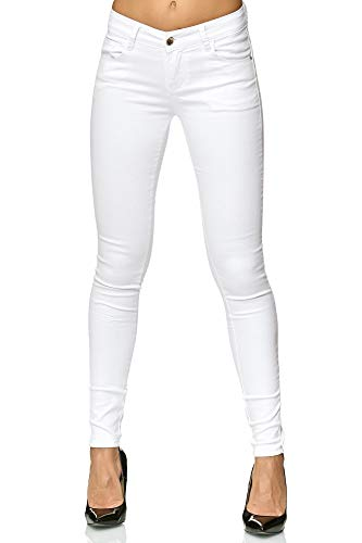 Elara Damen Stretch Hose Push Up Jeans Gummizug Chunkyrayan Y5110 White 38 (M)
