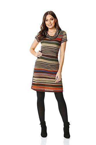 Cowl Neck Stripe (Geshu Women Stripe Cowl Neck Shift Dress - Ladies Everyday Smart Casual Work Office Meeting Comfortable Round Neck Knee Length Midi Jersey Stripes Dresses,Brown,16)