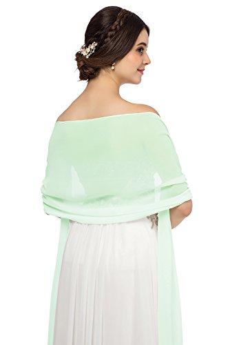JAEDEN Chiffon Stola Schal für Brautkleider Abendkleider Alltagskleidung in verschiedenen Farben 45cmx220cm Aqua