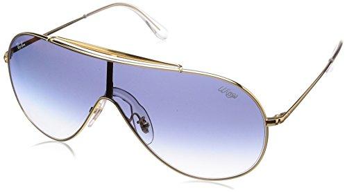 Ray-Ban Unisex-Erwachsene 0RB3597 001/X0 33 Sonnenbrille, Gold/Cleargradientbluemirrorred,