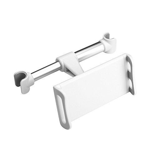 GUDUO Autositz Kopfstütze Halterung und Halter, Verstellbarer Rücksitz Telefonständer Rotierende Cradle Rücksitz Dock Starke Grip Multi-Winkel Auto Halterung für iPad Pro/Air / Mini, Tabletten-Weiß