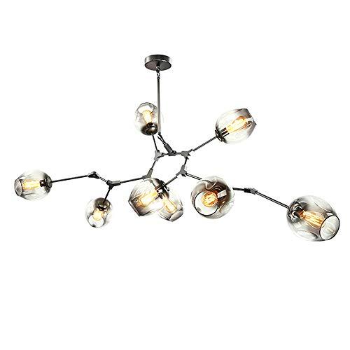 Kronleuchter Beleuchtung verzweigte Bubble Ball Pendel Lampe, Gold Metall Hängende Lampe Wohnzimmer Esszimmer Leuchten,Blackpole,6Heads