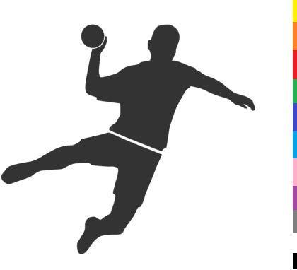 generisch Handball Aufkleber in 10cm, 15cm, 20cm oder 25cm Handball Sport Aufkleber Sticker als Autoaufkleber oder Wandtattoo in vielen Farben (255/1) (Farbauswahl aus Farbtabelle, 15cm)