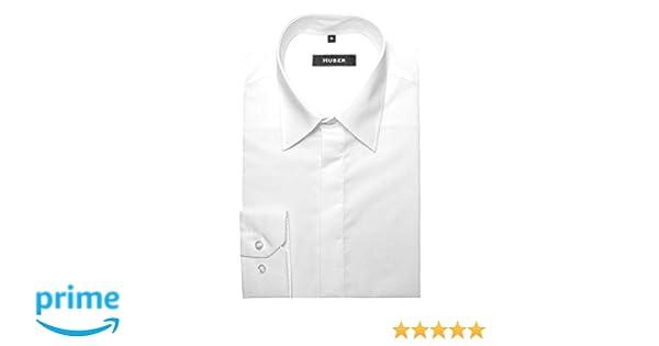 HUBER Festliches Gala Hemd weiß verdeckte Knopfleiste HU-0081 Regular