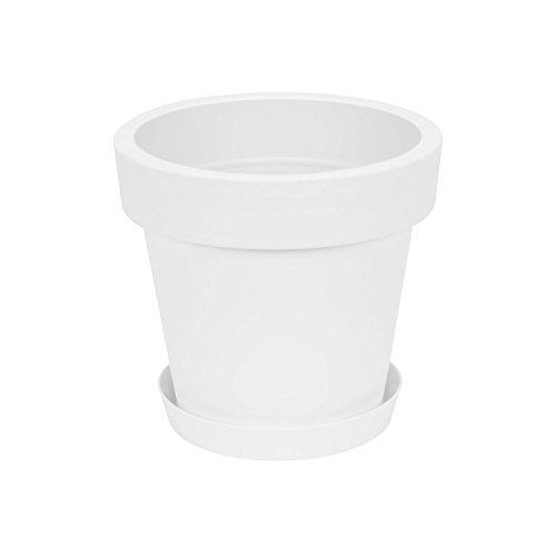 Pot de fleur avec soucoupe en plastique Lofly, classique, 25 cm diam, blanc