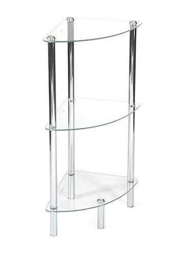 Aquashine® Luxus Design Badezimmer-Regale | verchromter Stahl & Glas | Modernes Design | 3 & 4 Etagen | Freistehende & Eckregale (Ecke Klein) - 4 Regal Stahl Schrank