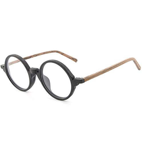 WULE-Sunglasses Unisex New Plate Holzmaserung Rahmen Retro Kunst Neue Gläser Flut Menschen Flache Gläser Rahmen männlich (Color : Black Frame Brown Legs)