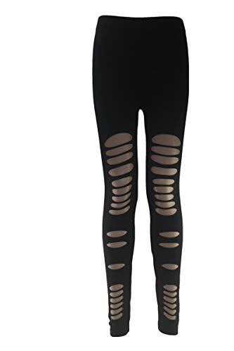 BONAMART Damen Punk Sexy Leggins Zerrissene Leggings Hose Cut Out mit Löchern, Black, M