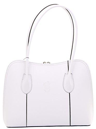 ienisch glattes weißes Leder Hand gemachter klassischer Stil lang gehandhabte Handtasche Tote Grab Tasche oder Schultertasche. Beinhaltet einen Markenschutz-Aufbewahrungsbeutel ()