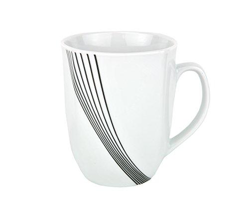 Van Well Kaffeebecher Impulse 330ml Porzellan weiß mit Linien-Dekor