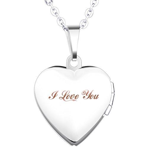 Unendlich U Collana da donna con medaglione alla moda apribile forma di cuore con portafoto per due iagini realizzato acciaio INOX