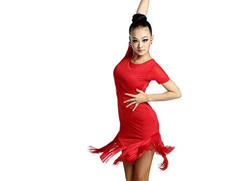 Kostüm Chacha Dance - Motony Latin Dance Kleid Latin Dance Quasten Röcke Damen Kleidung Kostüm Rot XS