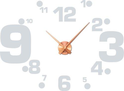 Wandtattoo Uhr Wanduhr mit Uhrwerk für Wohnzimmer Zahlen groß klein Punkte (Uhr Kupfer//072 hellgrau) (Uhrwerk Kleinen)