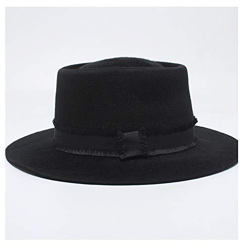 Simple Bowler Hat Damen Pull Pelzmütze Top Konkave Schwarze Filzhut Pork Pie Hut (Farbe : Schwarz, Größe : 61 cm) ()