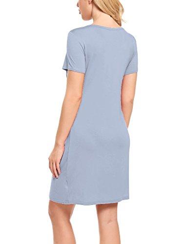 HOTOUCH Damen Umstandskleid Stillkleid Mutterschafts Kleid Umstandsmode Schwangerschafts Kleid Kurzarmes Nachthemd Rundhals Nachtwäsche Stahlblau