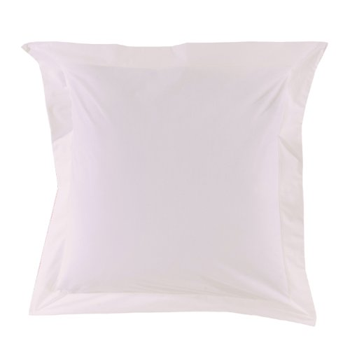 Essix Home Collection, Federa in percalle per cuscino, Bianco, 65 x 65 cm