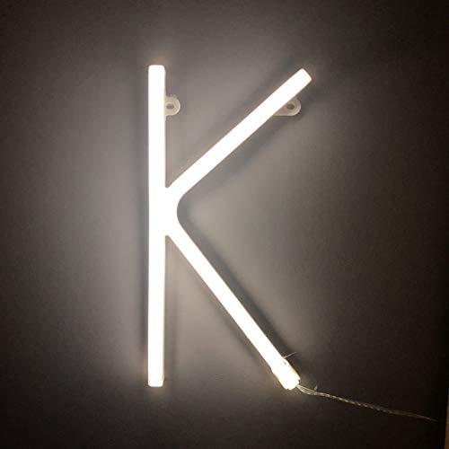 Smiling Faces Letrero luminoso de neón LED Letras blancas - Colgante de pared alimentado por batería - Letra K
