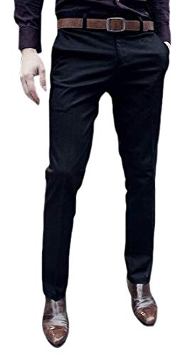 SOWTKSL Herren Performance Slim Solid Straight Fit Plain Front Dress Pant Gr. US L, Schwarz -