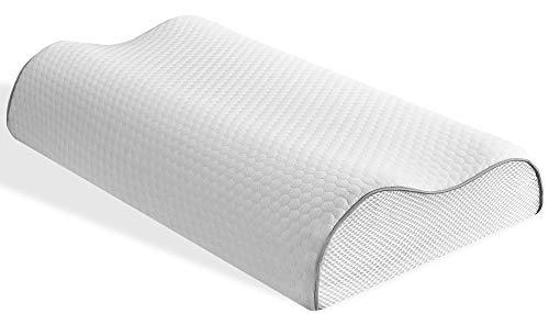 Shloofee Memory-Schaum Kontur Kissen Abnehmbarer und waschbarer Bambus-Bezug, verstellbare Höhe, entworfen für Rücken- und Seitenschläfer, Queen-Größe, 35,6 x 55,9 cm - Full Twin Loft