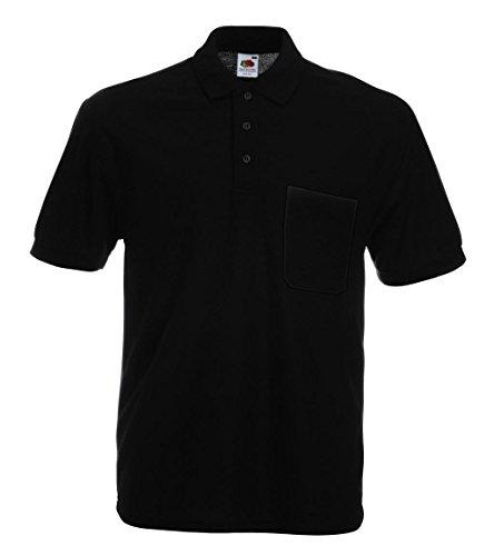 Fruit of the Loom Herren Poloshirt Pocket Polo Black