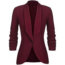 UNibelle Blazer Femme Grande Taille Veste Blazers Veste De Costume Manche 3/4 Casual Tailleur Vin Rouge