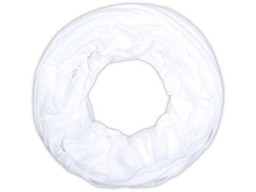 Sciarpa a tubo circolare in viscosa, foulard da donna leggero e morbido estate primavera autunno inverno loop anello ragazze colorati stola accessorio moderno lifestyle, SCH-920a-t:bianco SCH-920t