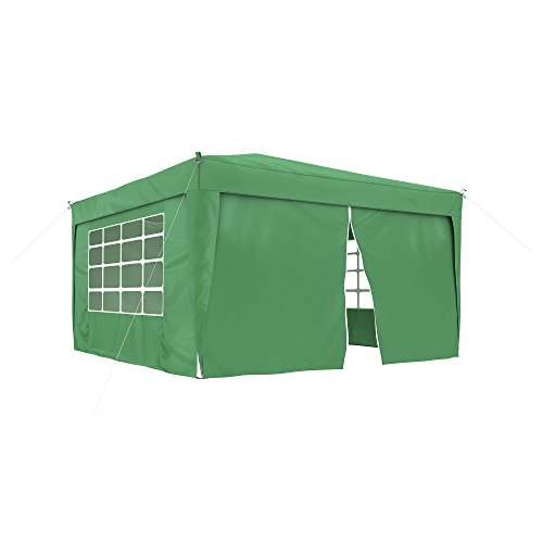 JAROLIFT Gazebo pieghevole 3x3 m Premium incl. 1x parete laterale con porta e 3x pareti laterali con finestra, verde