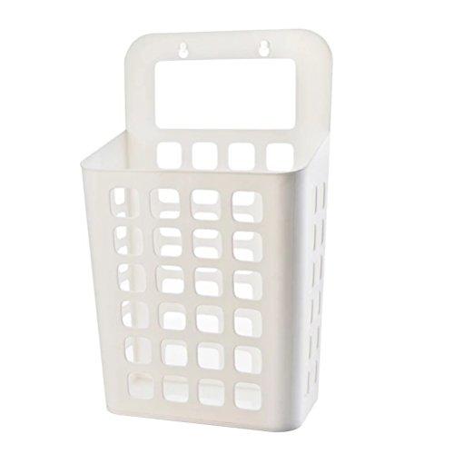 OUNONA Cesta de Almacenamiento de plástico para Colgar Ropa organizadora de Pared (Blanco)