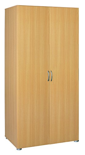 Demeyere Zip2 Schrank 2-Türig, Kleiderstange, Hutablage, Spanplatte, Buche Natur, 80.4 x 51.5 x 166.6 cm
