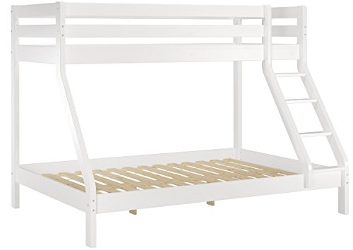 Erst-Holz® Doppel-Etagenbett weiß 140x200 und 90x200 Erwachsenen-Stockbett Kiefer Massivholz 60.19-09-14 W