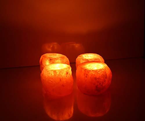 Deenz - 2 portacandele in cristallo di roccia dell'himalaya, 100% naturale, alta qualità (2 portacandele)