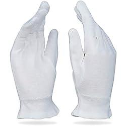 Beauty Care Wear Grands Gants en Coton Blanc pour Eczéma, Peau Sèche et Hydratant - 20 gants