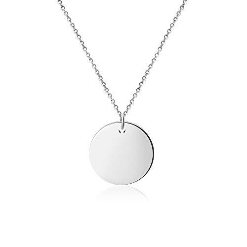 Good.Designs ® Damen Multi Coin Halskette mit einem oder DREI Kreis - Anhänger | Edelstahl (Kettenlänge 45 + 5cm) (Coin Silber)