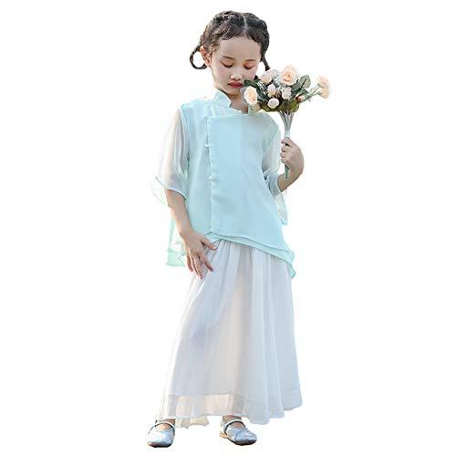 JIE. Das Sommerkaby Hanfu im chinesischen Stil ist für Kinder Tang Anzug Republik China Windbekleidung grün Lotus, Foto-Kostüme, Kultur Klasse ()