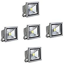 SAILUN 10W luz Foco LED blanco cálido foco exterior - Foco de pared (Aluminio IP65, impermeable, 5 unidades), color Plata