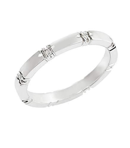 Gioielli di valenza anello fedina in oro bianco 18k con diamanti - 21