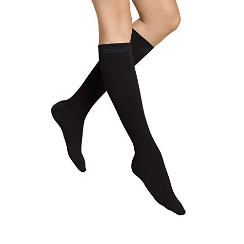 Wolle Knie Hohe Socken (ITEM m6 - VOYAGER KNEE-HIGH Damen | schwarz | L | L1 | Kompressionsstrümpfe im 50 DEN Look)