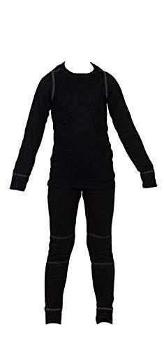 icefeld® - atmungsaktives Thermo-Unterwäsche Set für Kinder - warme Wäsche aus langärmligem Oberteil + Langer Unterhose: schwarz in Größe 122/128