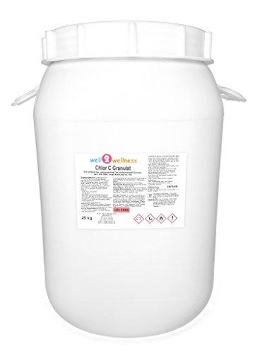 well2wellness Chlor C Granulat - Calciumhypochlorit Granulat mit ca. 70{d63d8795e3049fd8d949fdd249ab9dbc1c3d3d36706b8c2db91bd034a4a47959} Aktivchlor speziell für weiches Wasser - 25 kg