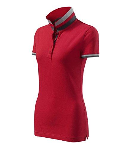 Modisches Damen Poloshirt Collar Up - Super Premium Stoff & Shirt Schnitt | 100% Baumwolle | S - XXL (257-Rot-L) (Button-up-shirt L/s)