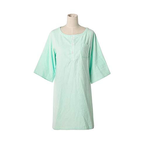Lian Nachthemd Frauen 7-Ärmel Baumwolle Einteilig Bad Rock Erwachsenen Bad Rock Pyjamas Baumwolle Bademäntel Zu Hause Weichen Frühling Und Sommer-Modelle (Farbe : Green, größe : M) (Einteilig Pyjama Für Erwachsene)
