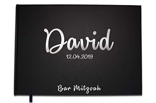 Uttscheid Livre d'or Anniversaire Retraite Baptême Bar Mitzvah Personnalisé -100 Pages - Noir Carbone