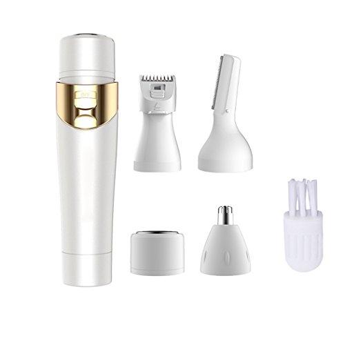 Damen Trimmer, Kapmore 4 in 1 Elektrischer Rasierer Damen Nasenschneider Frauen-Rasierer für Ohrhaar Nose Augenbrauen Body Gesichtsbehaarung
