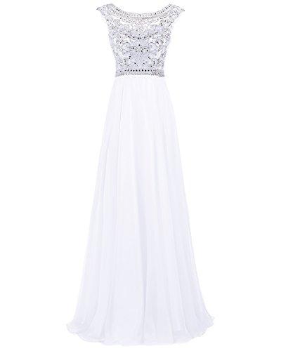 Dresstells Damen Bodenlang Promi-Kleider Chiffon Party Kleider Weiß