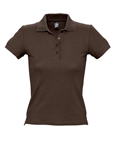 SOLS femmes personnes Polo à manches courtes Tissu piqué Marron - Chocolat