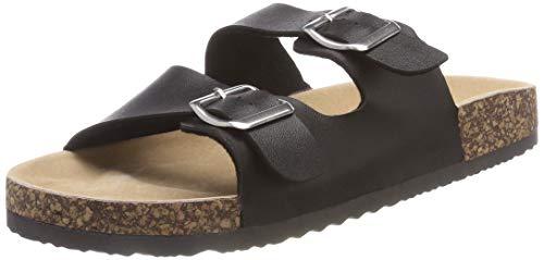 SANDALUP Unisex-Erwachsene Verstellbare Pantoletten Sommer Sandalen mit Korkfußbett Schwarz 43