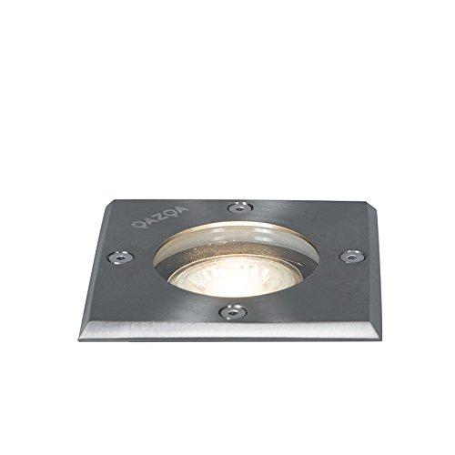 QAZQA Moderne Spot de sol extérieur Basic carré GU10 50W pour extérieur, Verre, Acier inoxydable, Carré / Compatible pour LED GU10 Max. 1 x 50 Watt