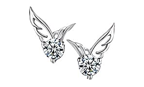 925 Sterling Silver Earrings jewellery beautiful pierced stud angel wings with cubic zirconia (in a Box) Premium Quality